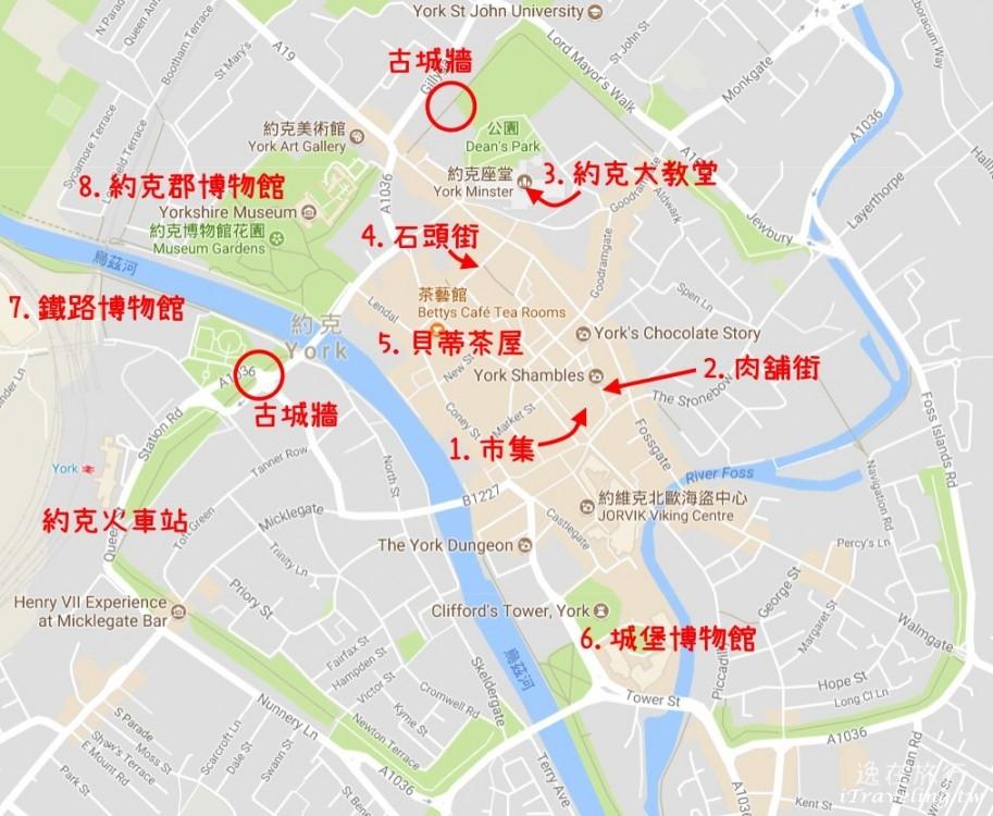 約克景點地圖